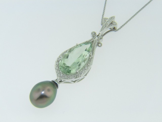 Pear Cut Green Amethyst, Black Pearl & Diamond Pendant Necklace in 14k White Gold 16""