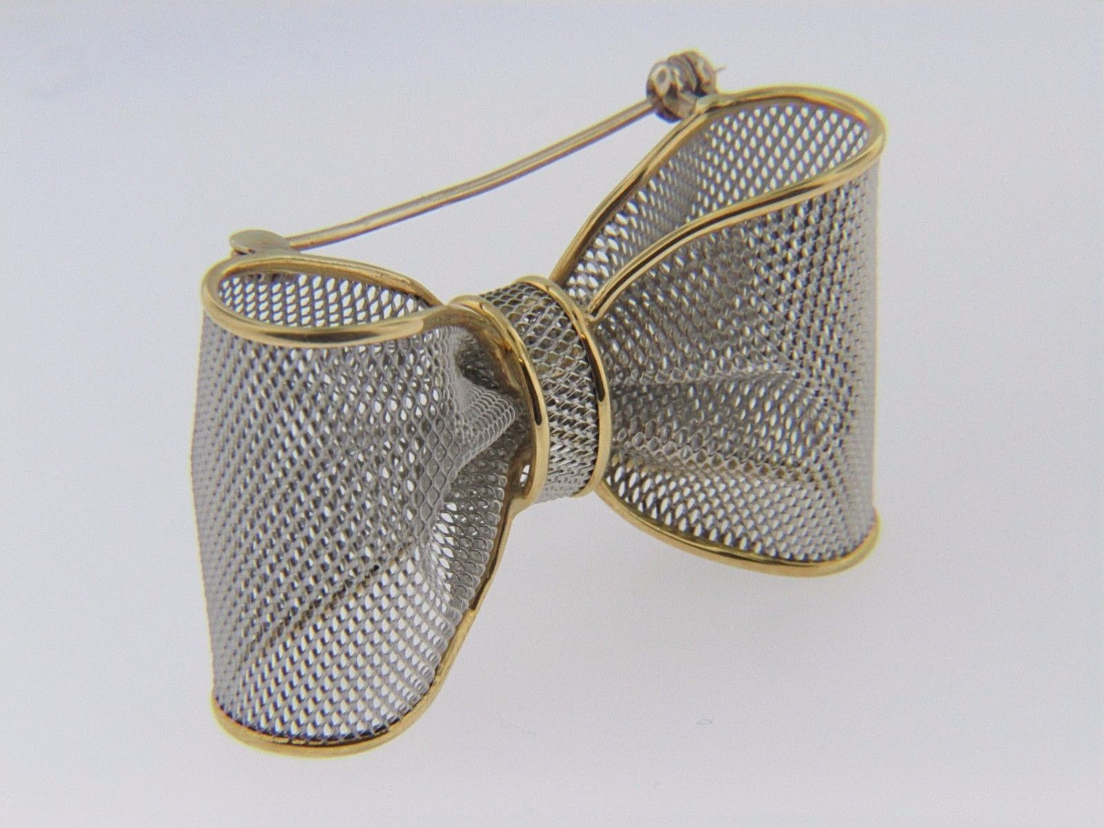 Vintage Two Tone Mesh Design Bow Pin Brooch In Platinum