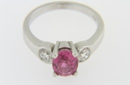 Contemporary 2.42ctw Oval Pink Sapphire & Diamond Three Stone Ring in 14k White Gold Size 6