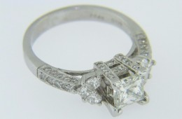 1.84ctw Princess Cut Diamond Engagement Ring with Round Cut Accents in 18k White Gold Size 7