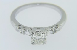 0.90ctw Round Cut Diamond with Baguette Accents Engagement Ring in 14k White Gold Size 5.5