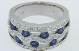 3.0ctw Round Cut Sapphire & Diamond Open Wave Design Band Ring in 14k White Gold Size 6.5
