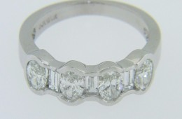2.0ctw Oval Cut & Baguette Diamond Band Ring in 14k White Gold Size 5.75