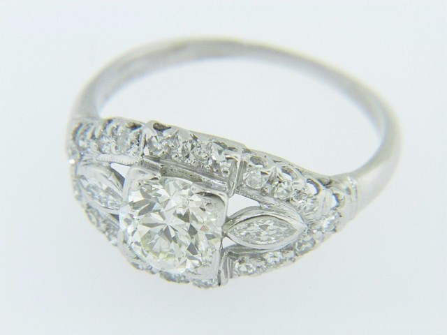 Art Deco 1.18ctw Old Mine Cut Diamond Navette Shaped Engagement Ring in Platinum Size 6