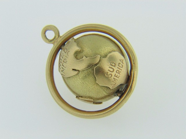 Vintage 1960's Spinning 3D World Globe Charm Or Pendant In 14k Yellow Gold