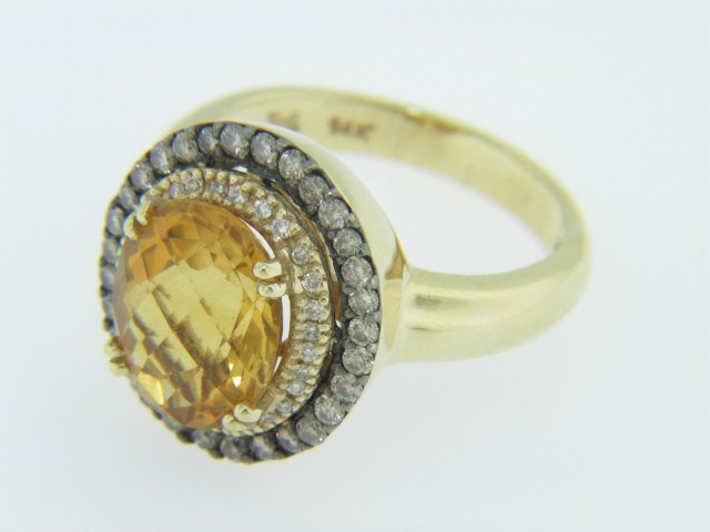 Levian Oval Citrine & Chocolate Diamond Double Halo Ring in 14k Yellow Gold Size 7