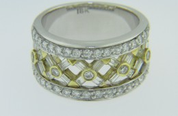 Two Tone 1.4ctw Diamond Criss-Cross Design Band Ring in 18k White Gold Size 6.75