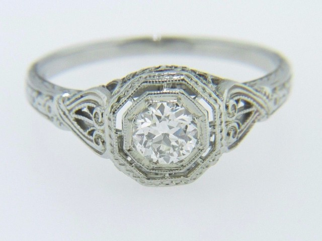 Vintage 0.46ct Old Cut Diamond Filigree Engagement Ring In 18k White Gold Size 7