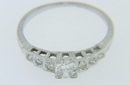 Vintage 0.25ct Old Mine Cut Diamond Engagement Ring in 18k White Gold Size 5.5
