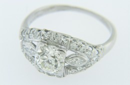 Art Deco 2.15ctw Old Mine Cut Diamond Navette Engagement Ring in Platinum Size 6