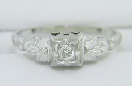 Vintage 0.12ct Round Cut Diamond Solitaire Engagement Ring in 14k White Gold Sze 5.5