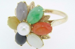 Vintage Multi-Color Jade & Pearl Flower Ballerina Ring In 14k Yellow Gold Size 6.5
