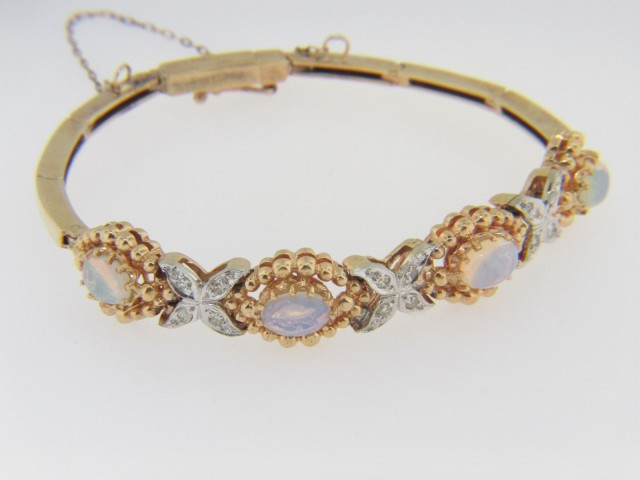 "Vintage Oval Opal & Diamond ""X"" Design Bracelet In 14k Yellow Gold 7"""
