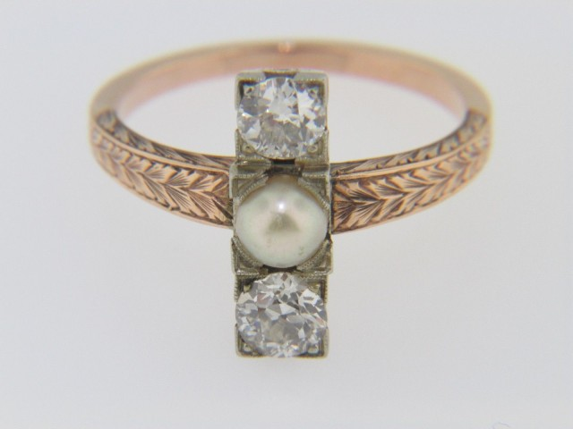 Vintage 1890-1910 Pearl & Old Cut Diamond Ring in Fine Rose Gold Size 6.25