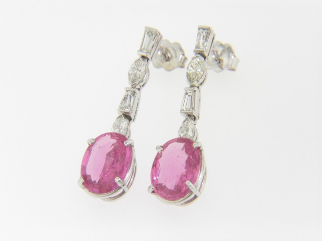 Vintage 6.03ctw Fine Oval Pink Sapphire & Diamond Dangle Earrings In Platinum