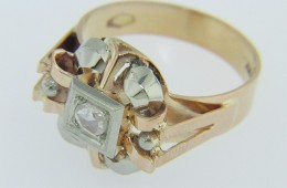 Vintage .10ct Rose Cut Diamond Unique Open Frame Ring Two Tone 18k Gold Size 7.5