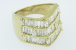 Vintage 1.5ctw Tapered Baguette & Marquise Diamond Ring in 14k Yellow Gold Size 7