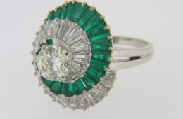 Vintage Round and Baguette Cut Diamond & Emerald Spiral Design Ring in Platinum Size 8