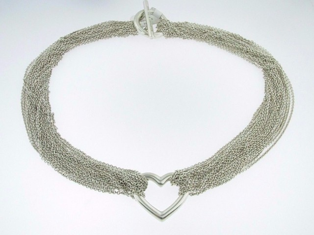 Tiffany & Co. Heart Multi Chain Mesh Toggle Necklace in .925 Sterling Silver 15.5""