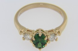 Vintage Oval Green Tsavorite & Diamond Three Stone Ring In 14k Yellow Gold Size 7.25