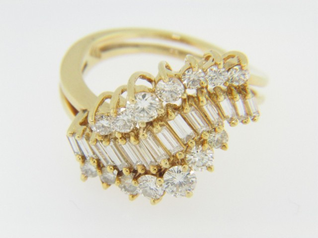 Vintage 2.5ctw Round & Baguette Cut Diamond Waterfall Ring in 18k Yellow Gold Size 5.5