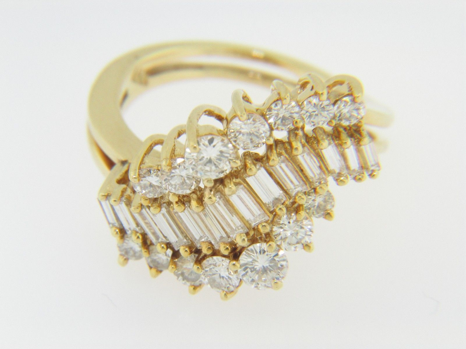 Vintage round baguette cut diamond waterfall ring for Waterfall design ring