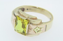 "Vintage ""1946"" Radiant Cut Yellow Stone Band Ring in 10k Rose Gold Size 9.5"