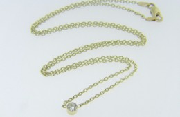 Timeless Solitaire 0.20ct Round Old Cut Diamond Necklace in 14k Yellow Gold