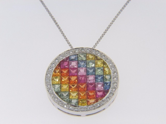 6.76ctw Multi-Color Sapphire & Diamond Circle Pendant Necklace In 14k White Gold